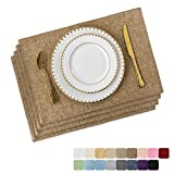 Home Brilliant Set of 4 Placemats Heat Resistant Dining Table Place Mats Kitchen Table Mats, Natural Linen