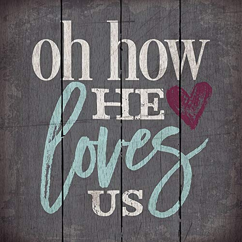 Personalisierbare Größe und Muster 'Oh How He Loves Us' Holzpaletten-Dekoschilder mit Baumwolle und Leinen