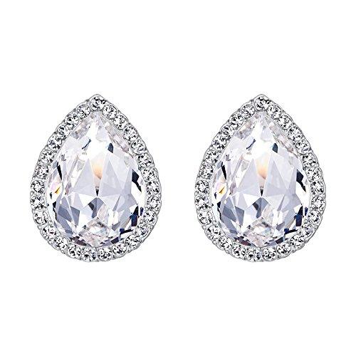 EVER FAITH Women's Austrian Crystal Wedding Teardrop Stud Earrings Clear Silver-Tone