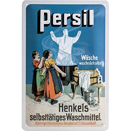 Nostalgic-Art Retro Blechschild Persil – Wäschegeist – Geschenk-Idee für Nostalgie-Fans, aus Metall, Vintage-Design zur Dekoration, 20 x 30 cm