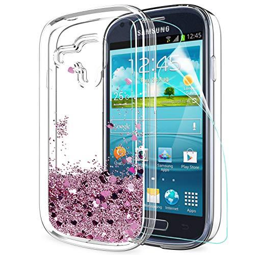 LeYi Custodia Galaxy S3 Mini Glitter Cover con HD Pellicola,Brillantini Trasparente Silicone Gel Liquido Sabbie Mobili Bumper TPU Case per Samsung Galaxy S3 Mini Telefonino Donna ZX Turquoise