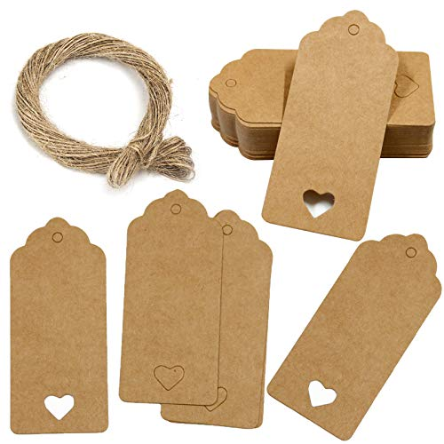 QincLing 150 PCS Brown Gift Tags, Kraft Paper Tags Heart Hollow Brown Gift Tags Labels Rectangular Wedding Favour Paper Tags Craft Hang Tags Luggage Tags Brown Card With Jute Twine 30 Meters