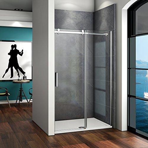 120x195cm Duschabtrennung Duschwand Dusche Schiebetür Nischentür 6mm Klarglas ohne Duschtasse SK12-2+4B V2