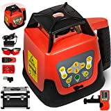 Chrisun Self-Leveling Rotary Laser Level with 360 Degree Receiver Laser with Remote Control and Laser Goggles (Red)