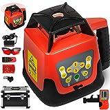 Chrisun Niveau Laser Rotatif à Nivellement Automatique avec Récepteur Laser à 360 Degrés avec Télécommande et Lunettes Laser (rouge)