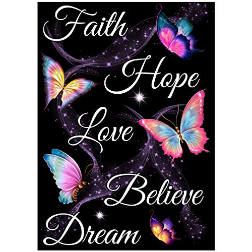 Diamond Painting Kits for Adults, 5D Diamond Painting Butterfly Text Art DIY Round Full Diamond Mosaic Set Crafts, Valentine's Day Gift 11.81x15.75 inches