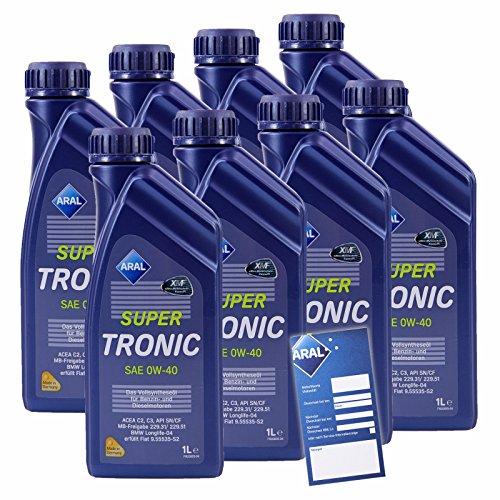 8x 1 L Liter ARAL SuperTronic 0W-40 Motoröl inkl. Ölwechselanhänger