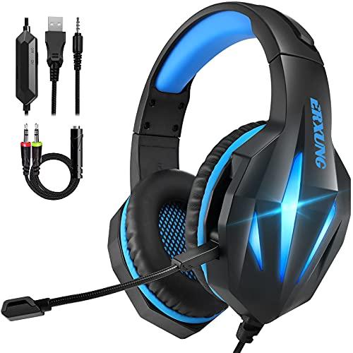 Cascos Gaming PS4 Switch, Auriculares Gaming Xbox One con Micrófono Reducción de Ruido, 50mm Drivers Sonido Envolvente y Luz LED,Auriculares para Juegos PS4 PS5 PC Mac Tableta(Azul)