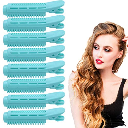 FAMVINKLE Volumizing Hair Root Clip Natural Fluffy Hair Clips Self Grip Root Volume Hair Curler Clip Curly Hair Styling Tool Rollers for Women Girls (8PCS, Blue)