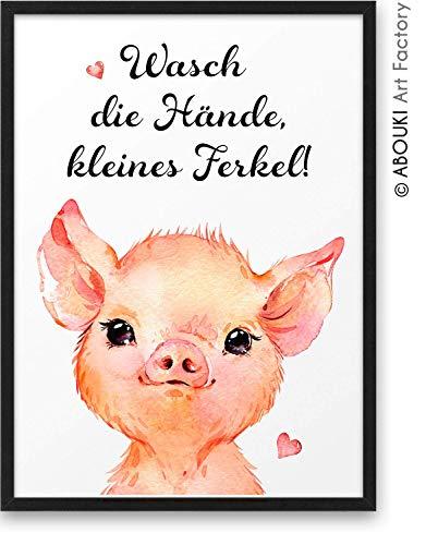 Wasch die Hände kleines Ferkel ABOUKI Kunstdruck - ungerahmt – Geschenk-Idee für Freunde und Familie Freund-in Kollege Kollegin in Corona-Krise Quarantäne mit Motiv Schweinchen