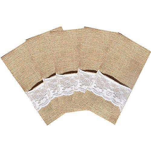20 Packs Burlap Lace Utensil Holders Pouch Jute Napkin Holders Linen Silverware Cutlery Knife and Fork Bags Pocket for Vintage Rustic Country Theme Weddings, Baby Shower, Birthday Dinner Party Decorations