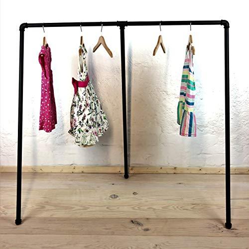 Kleiderständer für Kinder 110cm Breite x 110cm Höhe, schwarz pulverbeschichtet aus Metall, Industrial Design, Kleiderstange für Kleiderbügel