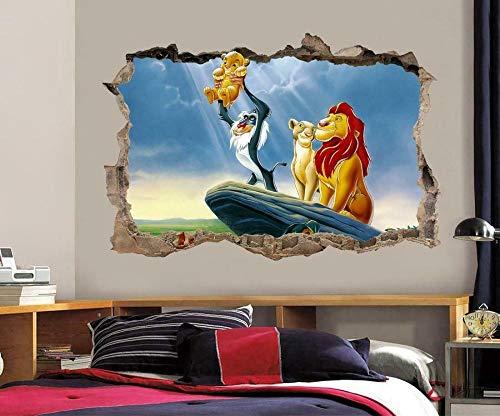 YJYG Pegatinas de pared Lion Smashing Wall Decal Gráfico Etiqueta de la pared Arte decorativo Halloween gift 60 * 90cm