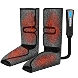Leg and Foot Massager with Heat Air Compression Calf Massager for Circulation and Relaxation Foot Massager with Hand-held Controller 3 Modes 3 Intensities Adjustable