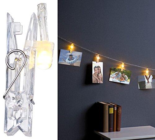Lunartec Lichterkette Fotoclips: LED-Foto-Clips-Lichterkette mit 20 Klammern, batteriebetrieben, 6 m (Foto Clip Lichterkette)