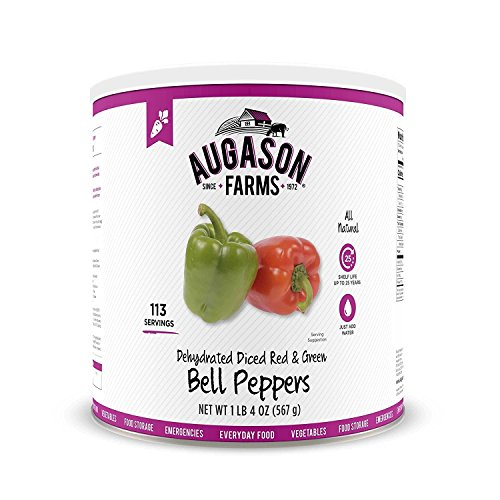 Augason Farms Dehydrated Diced Red & Green Bell Peppers #10 Can, 20 oz by...