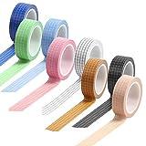maxin Cinta Washi de 8 rollos, cinta adhesiva decorativa de rejilla para escribir, cinta Washi de rejilla para álbumes de recortes, papel de regalo, diario, fotos, sobres, tarjetas (8 colores)