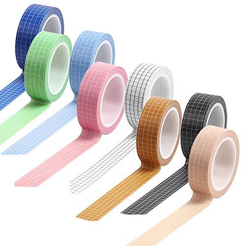 maxin Cinta Washi de 8 rollos, cinta adhesiva decorativa de rejilla para escribir,...
