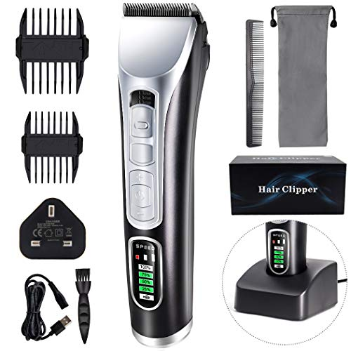 Hair Clippers for Men Cordless Professional Hair Trimmer Beard Electric Haircut Kit Ceramic Blade LED Display Hair Clippers USB Rechargeable for Men and Family Use