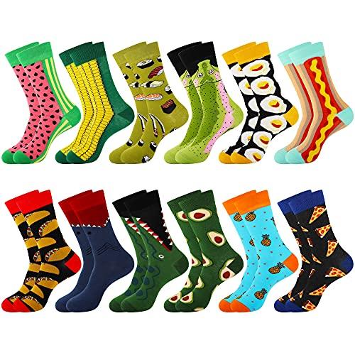 Merclix Bunte Socken Herren 43-46 Lustige Socken Geschenke für Männer, Baumwolle (12 Paar-Tiere & Essen)