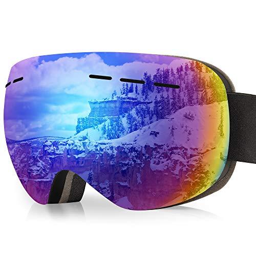 arteesol Skibrille, Snow Snowboardbrille Damen Herren Sportbrillen UV-Schutz Anti-Fog Skibrille (Schwarzer Rahmen (Blaue Gläser))
