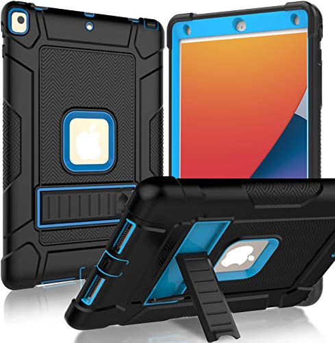 BMOUO iPad 8th Generation Case, iPad 7th Generation Case, iPad 10.2 Case, Shockproof Heavy Duty Rugged Protective Slim Kids Case with Kickstand for iPad 8th Gen/iPad 7th Gen 10.2 inch - Blue and Black