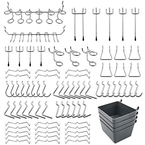 Pegboard Hooks Assortment with Pegboard Bins, Peg Locks, for Organizing Tools, 80 Piece