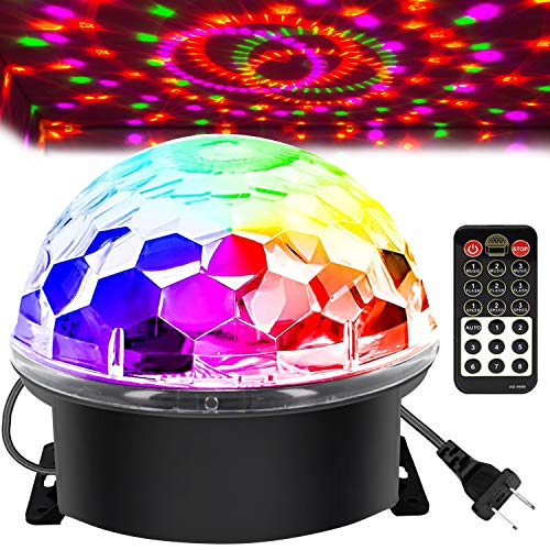 Memzuoix Disco Ball Party Lights Strobe Light with 6 Colors Sound Activated, Big-Size Magic Stage DJ Lights with Remote Control, Disco Strobe Lights for Party Festival Bar Wedding Home Show