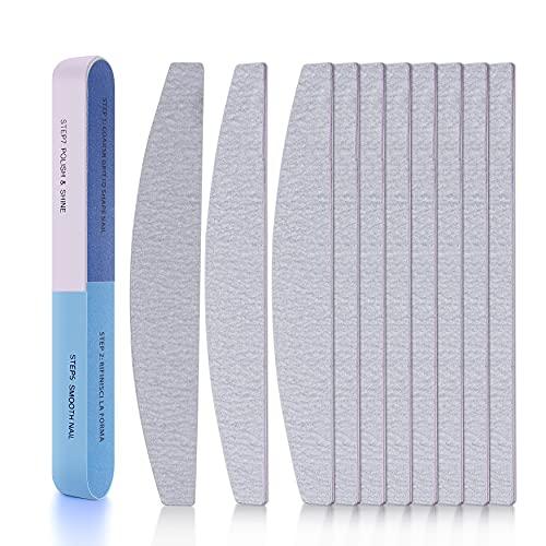 Lime per Unghie DUAIU 11 Pezzi Kit per la manicure con limette di carta smeriglio, doppio lato, per la cura delle unghie in acrilico e naturali