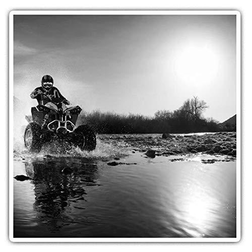 Impresionantes pegatinas cuadradas (juego de 2) 10 cm BW – ATV Quad Bike Motocicleta Biker Divertidos calcomanías para portátiles, tabletas, equipaje, reserva de chatarras, neveras, regalo genial #40789