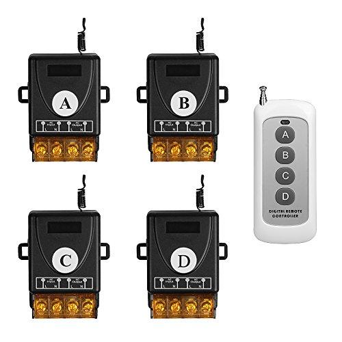 TSSS Lagerhäuser Büros Fernbedienung mit 4 Empfänger Satz AC 220V Funkschalter Funk Wandsender Wireless Licht Schalter - Fernbedienung Multi-Einheit Beleuchtung Lampen und Andere elektronische Geräten