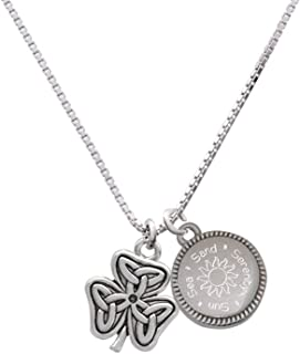 Shamrock with Celtic Knot Sun Sea Sand Serenity Engraved Necklace