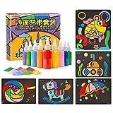Berry President 26 paquetes de tarjetas de colorear de arena para niños, manualidades de papel con 10 botellas de purpurina brillante de colores para niños