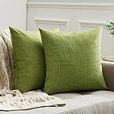 MIULEE 2er Pack Leinenoptik Home Dekorative Kissenbezug Kissenhülle Kissenbezug für Sofa...