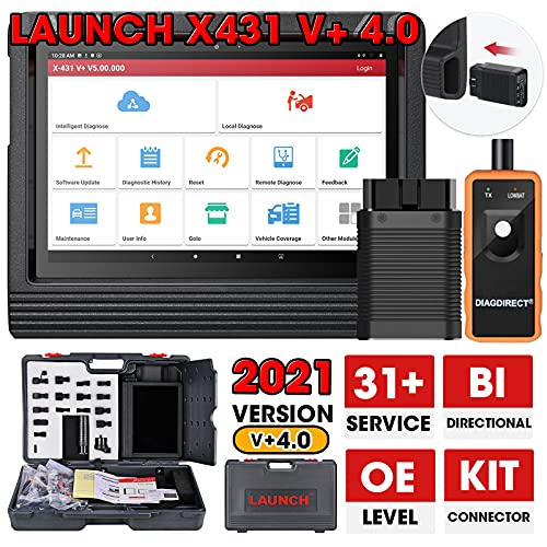LAUNCH X431 V+ PRO 4.0 (2021 Upgrade Ver. of X431 V PRO) Bi-directional Scanner OE-Level Full System Diagnostic Tool, 31+ Reset Functions, ECU Coding, Guided Function, Full Connector Kits Free Update
