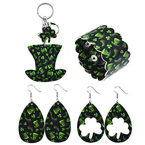 St Patrick's Day Dangle Earrings Set Women Men Teardrop Green Jewelry Accessory with Bracelet and Little Accessory 3PCS Green Shamrock Dangle Earrings Clover Fancy Costume Accessory Party Love Gift