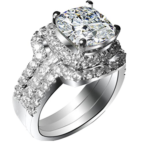 White Gold Plated 2CT Cushion Engagement Ring Wedding Bands NSCD Simulated Diamond...