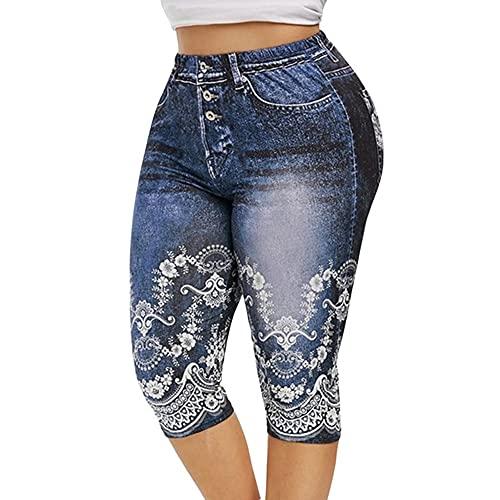 N\P Impreso falso denim yoga pantalones señoras jeans leggings pantalones de cintura alta