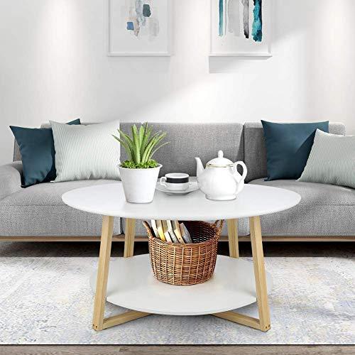 Greensen Couchtisch Weiß Wohnzimmertisch Rund Beistelltisch Weiss Sofatisch Holz Runder Kaffeetisch mit Ablage Telefontisch Modern Skandinavisch Design Nachttisch Teetisch 90x 90 x 45 cm