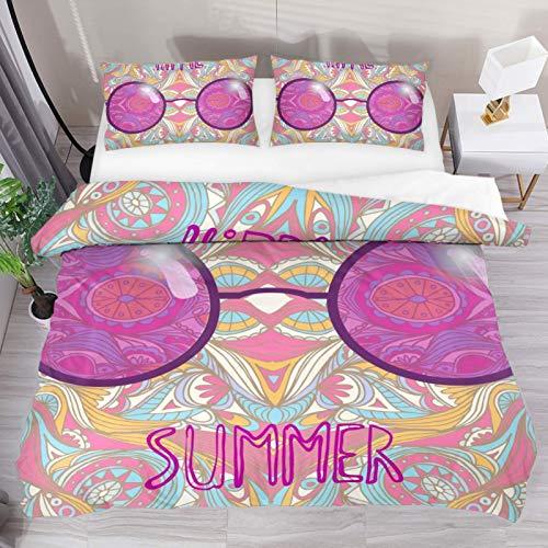 Colour Rose Spectacles Hippie Gafas de Sol Ilustración Ropa de Cama Funda nórdica Juego de 3 Piezas - Funda de edredón de Microfibra Doble Ultra Suave con Cierre de Cremallera y 2 Fundas de Almohada