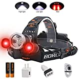 BORUIT LED Headlamp - Ultra Bright 5000 Lumens, 3 Lighting Modes,White & Red...