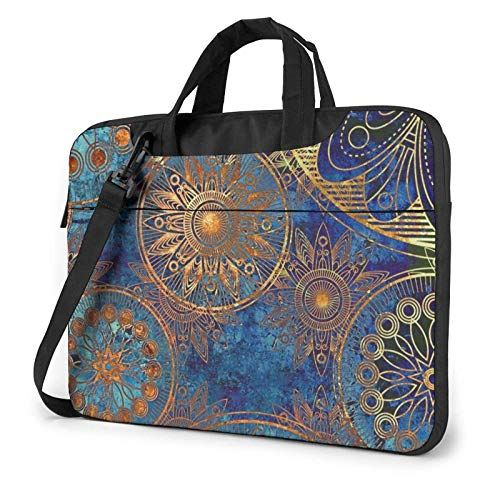 Golden Flower Blue Background Laptop Bag Messenger Bag Briefcase Satchel Shoulder Crossbody Sling Working Bag