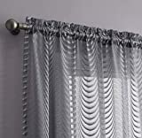 "WARM HOME DESIGNS Pair of 2 Charcoal Gray Color Standard Length 54"" Wide by 84"" Long Sheer Rod Pocket Curtains Panels with Scalloped Bottom. Affordable Drapes for Living Room or Bedroom. WA Grey 84'"