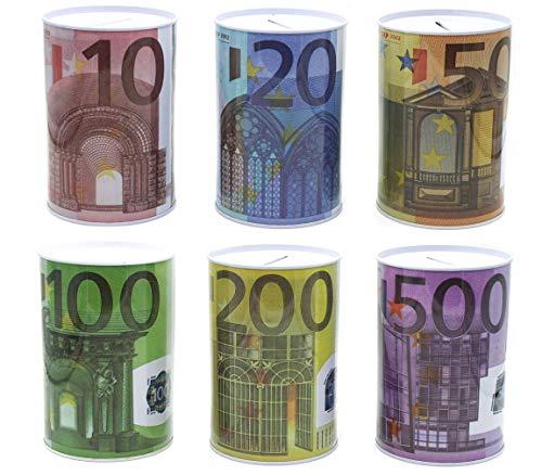 Bada Bing 6er Set Spardose Euro € Geldschein Ca. 12,5 x Ø 8 cm KLEIN Reisekasse Sparschwein 97