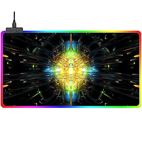Gaming Mouse Pads,Large Extended RGB Gaming Mouse Pad Cool Design,LED Keyboard Mouse Mat with USB Port Non Slip Rubber Base,Computer Mouse Desk Pad for Gamer,Laptop,Office,Home 23.6X11.8Inch