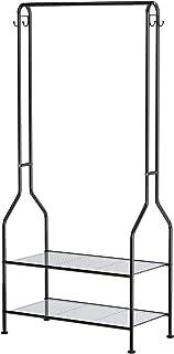 YINOLIFE ハンガーラック ワードローブ 2段棚タイプ 全体耐荷重30kg 幅68×奥行34×高さ150cm シンプル 組立簡単 スチールフレーム製 衣類ハンガー フック付き 省スペース 洋服掛け 衣類収納 物干し