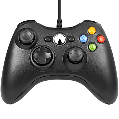 Joystick Controller Gamepad USB Maneggevole Adatto per PC Microsoft/ Xbox 360/360 Slim Windows 7/8/10 (Nero)