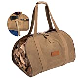 Geisofu Firewood Bag Log Carrier,Waxed Canvas Durable Large Fire Log Tote,Sturdy Fireplace Wood Stove Accessories Storage Bag for Fire Pit