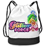 Zaini e borse,Zaini casual,Borse da palestra, Glitter Force Drawstring Bag Bundle Backpack Camping Backpack for Teens College