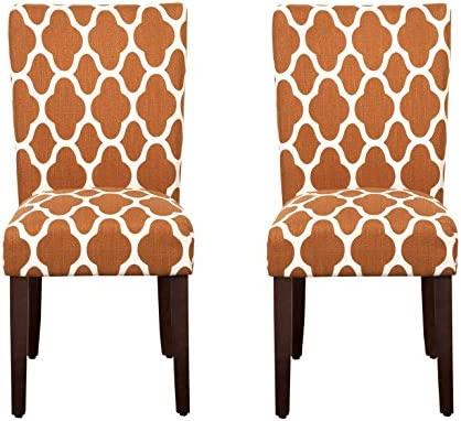 Best HomePop Parsons Classic Upholstered Accent Dining Chair, Set of 2, Rust and Cream Geometric